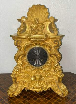 Nicely Cast French Mantel Clock, 19c