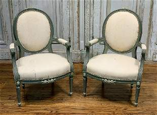 Pair Of French Carved Louis XVI Style Chairs