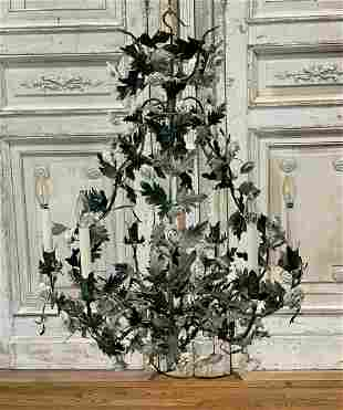 Tole 6 -light Chandelier With Bisque Flowers