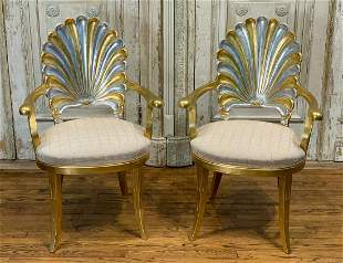Contemporary Gold And Silver Leaf Armchairs