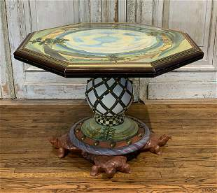 Mackenzie Childs Hand Painted Center Table