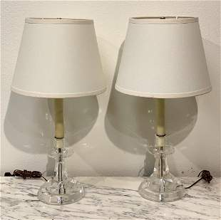 Pair Of Rock Crystal Candlesticks As Lamps