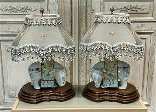 Pair Of Oriental Elephant Form Lamps