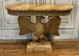 Carved Eagle Demilune Console
