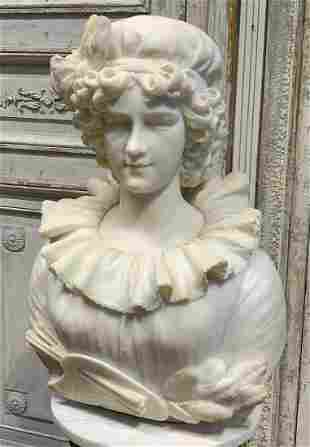 Fine 19th Century Carved Marble Bust, C. Lapini