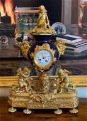 Fine 19th Century French Bronze And Cobalt Clock
