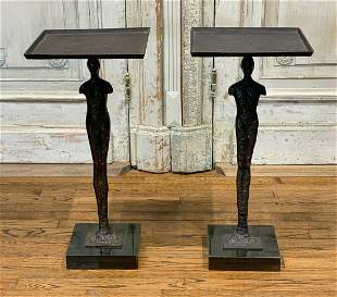 Pair Of Bronze Figural Tables, Man And Woman