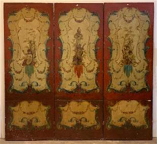 Set Of 3 Continental Painted Panels