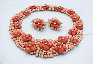 Rare Coral And Diamond Necklace And Earrings