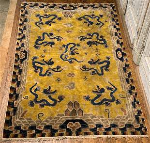 Oriental Area Rug With Yellow Ground & 9 Dragons