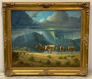 Signed Oil On Canvas Of Cattle Drive, B. Adams