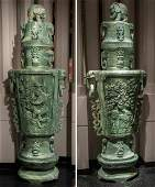 Extraordinary Pair Of Massive Jadeite Vases