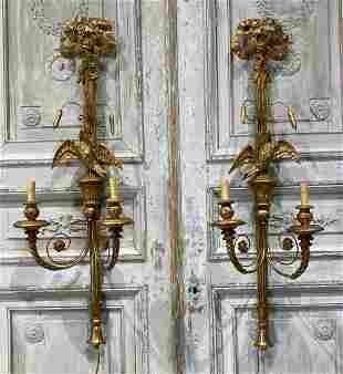 Pair Of Carved Gilt Wood Sconces