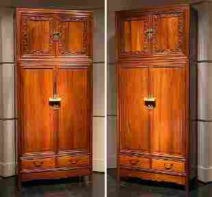 Pair Of Chinese Qing Wardrobe Cabinets