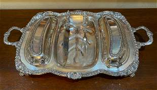 Silver Plated Well & Tree Dish With Seis Fleurs
