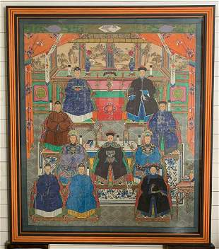 Large Painted Canvas Of Important Chinese Family