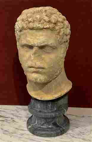 18c Carved Stone Head On Marble Base