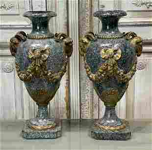 Pair Of Faux Marble And Bronze Urns