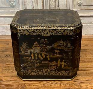 Large Oriental Black Lacquered Box