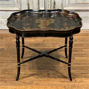 Small Black Lacquered & Hand Painted Tray Table