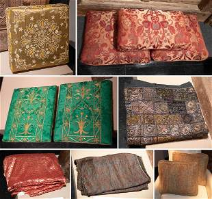 Group Of Antique Pillows And Fine Textiles