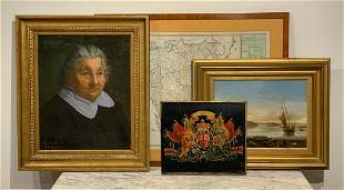 5 Art Pieces Including Oil Paintings And Map