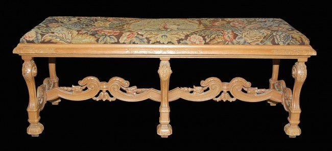 12: Continental Carved Limewood Bench with Needlepoint