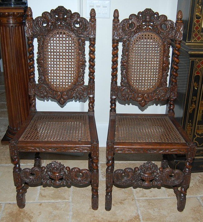 19A: Pair of French Oak Barley Twist Side Chairs