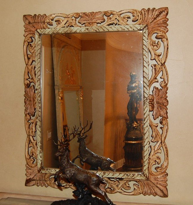 301: Antique French Painted Oak Mirror 36 x 44 19th c.
