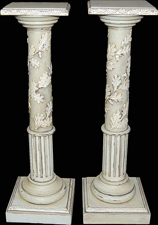 304: Pair of Antique French Painted Pedestals 19th cent