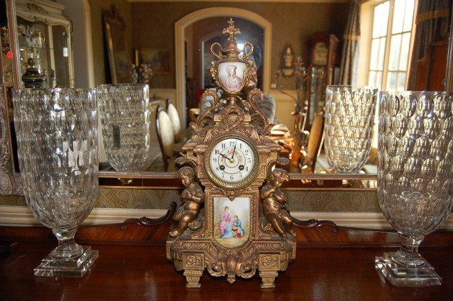 307: French Antique Spelter and Porcelain Clock 22h 19t