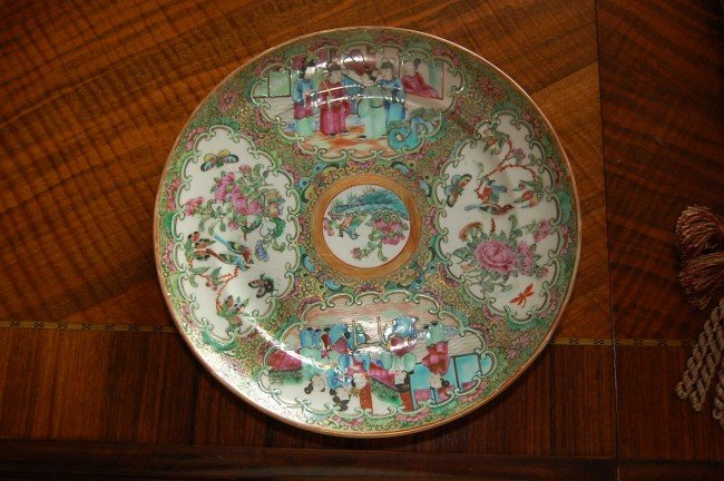 315: Set of 6 Antique Rose Medallion Plates 9.75w 19th