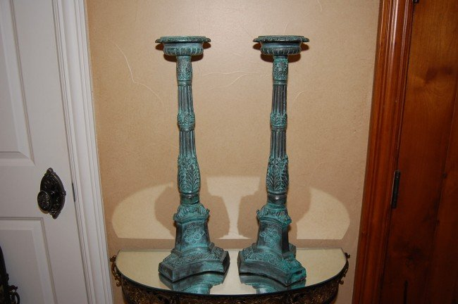 320: Pair of Patinated Brass Prickets 26h early 20th c.