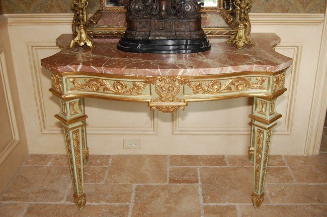 324: Continental Painted & Giltwood Console 53w x 35.5h