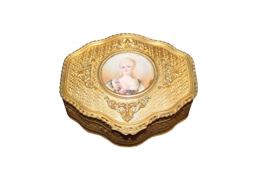 19th c. French Gilt Metal Trinket Box