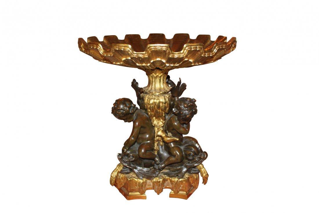 19th c. French Bronze Tazza w/ Cherubs
