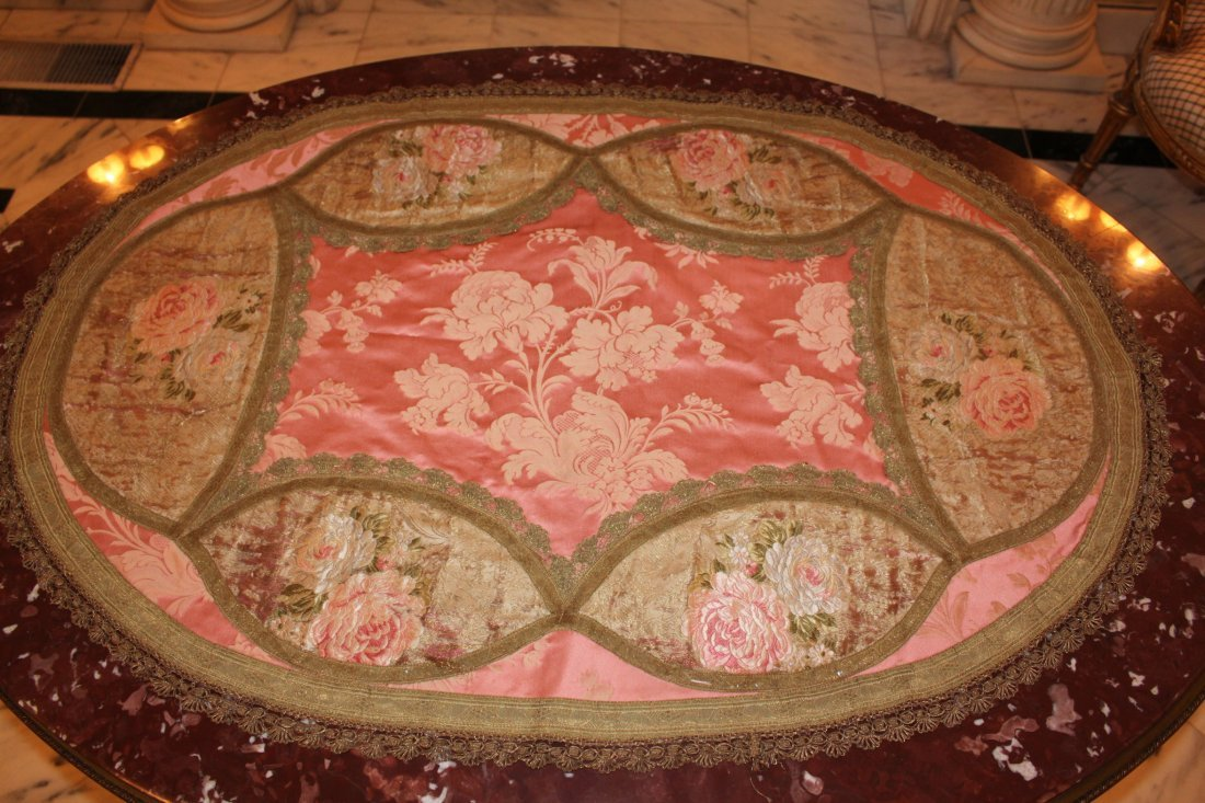 Oval Silk Table Runner with Gold Thread Work
