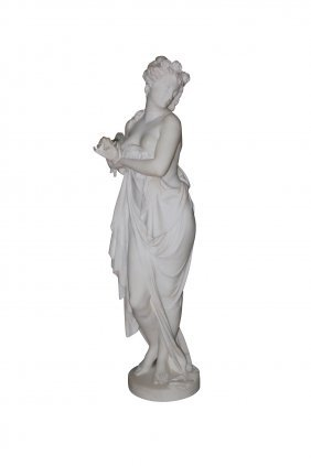 13: 19th c. French Marble Sculpture of Classical Lady,