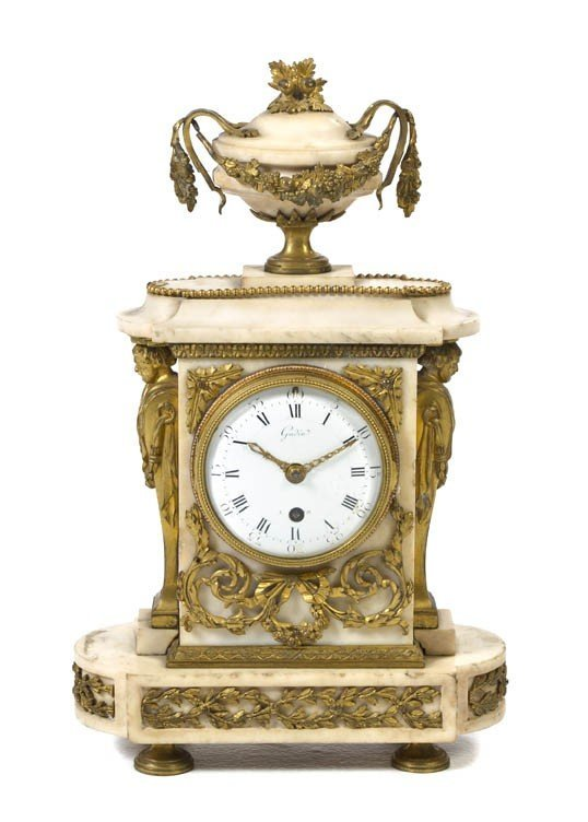 Antique French Marble & Bronze Mounted Mantel Clock
