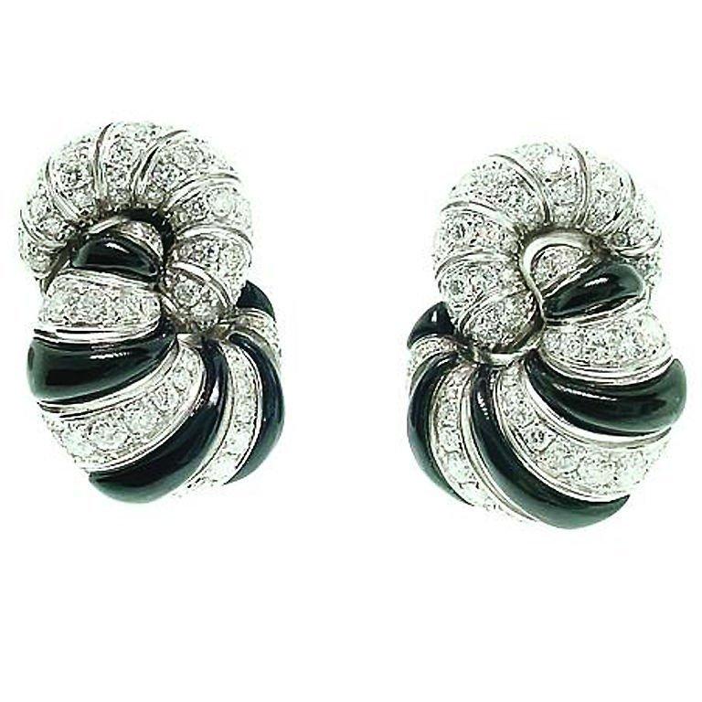 18k white gold onyx & diamond designer earrings