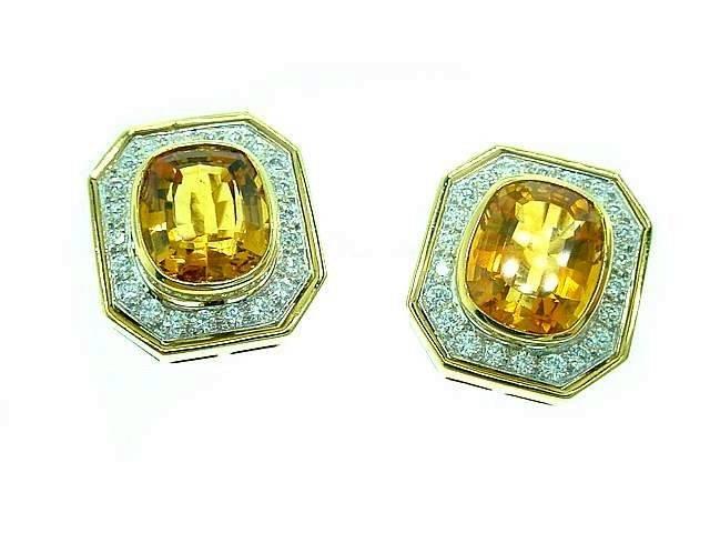 18k Golden Citrine Earrings w/ Diamonds