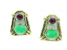 David Webb 18k Earrings w/ Cabochon Emerald