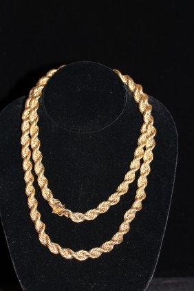 14k Yellow Gold Braided Rope Chain, 36 Inches