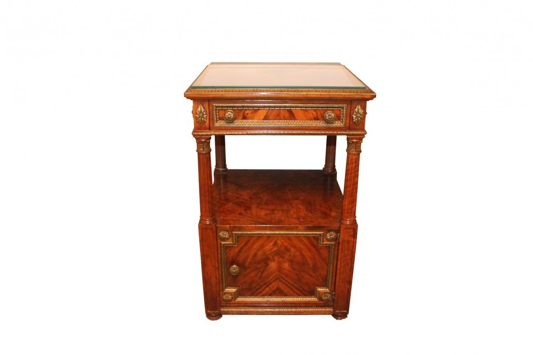 French Exotic Walnut Single Drawer Night Stand