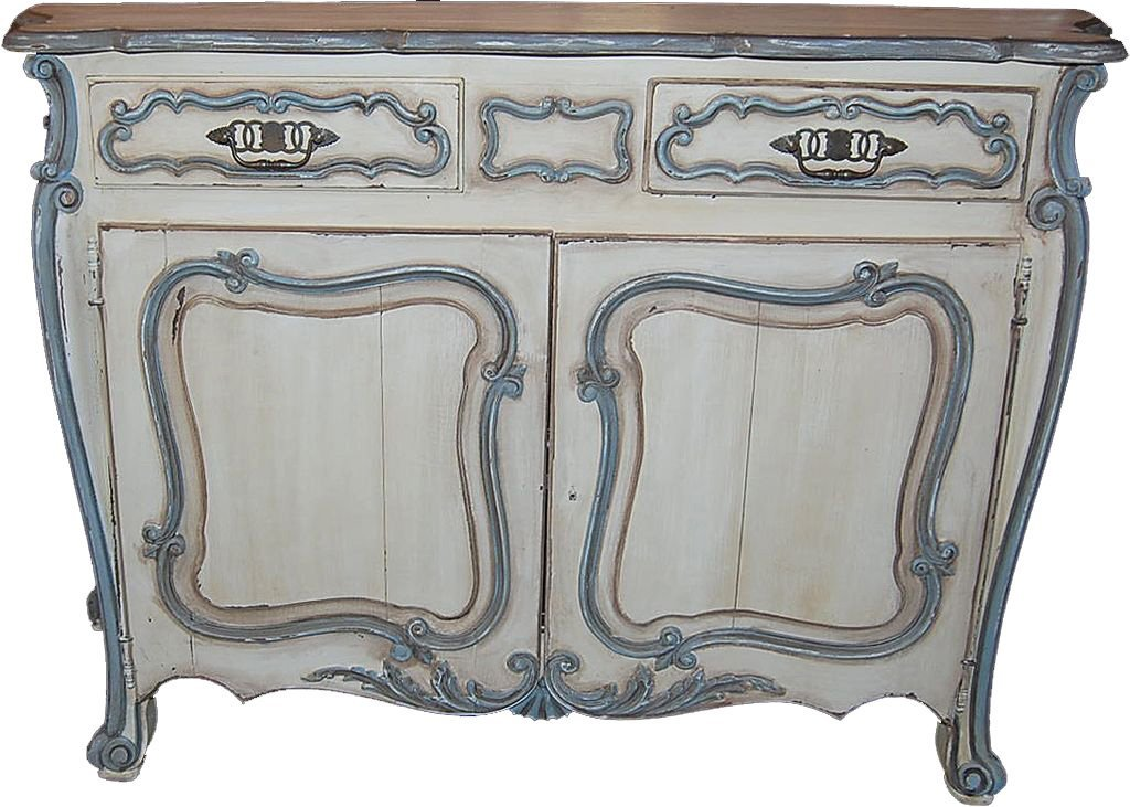 French Provincial Oak Painted Buffet