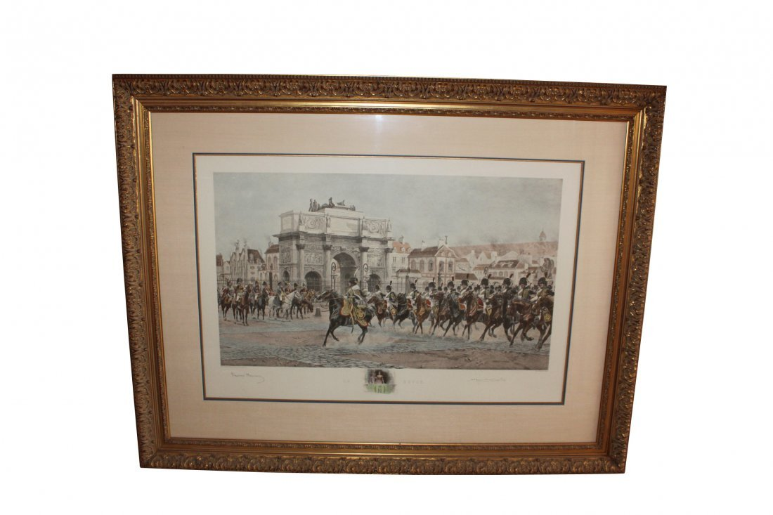 Large Framed Hand Colored Engraving