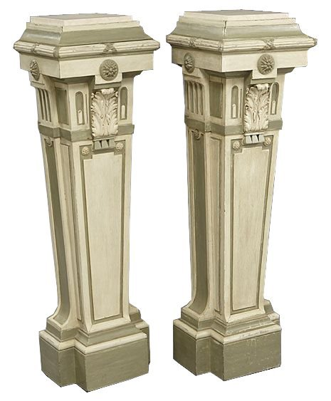 Antique pair of Continental Painted Pedestals
