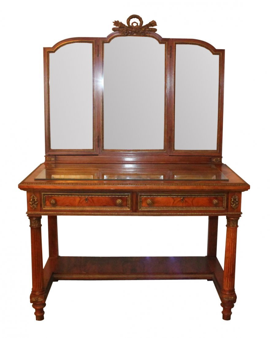 French Exotic Walnut Dressing Table