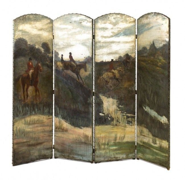 Continental Painted Leather 4 Panel Screen