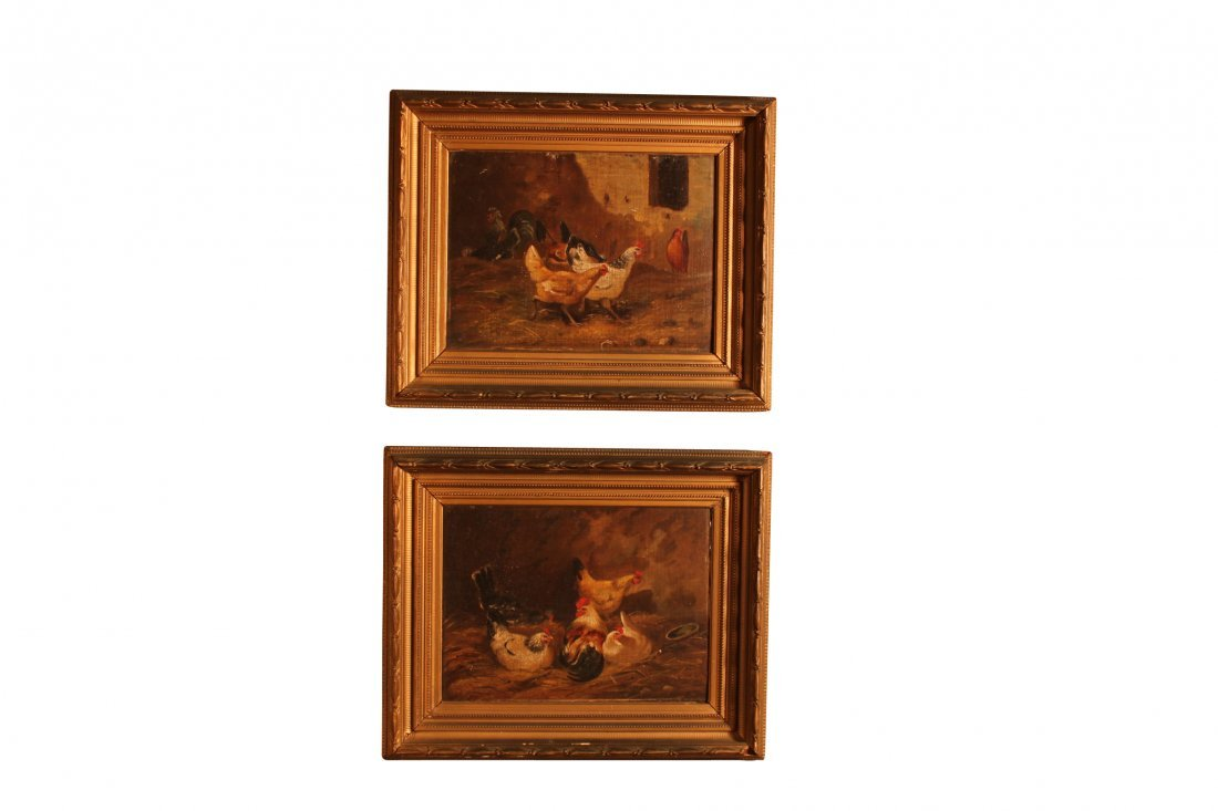 Pair of Continental Oil on Canvas Paintings